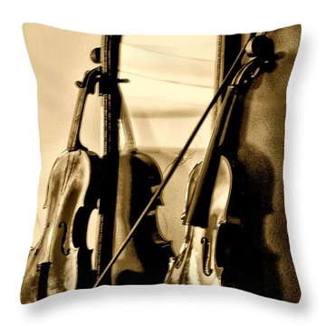 Violins Throw Pillow by Bill Cannon