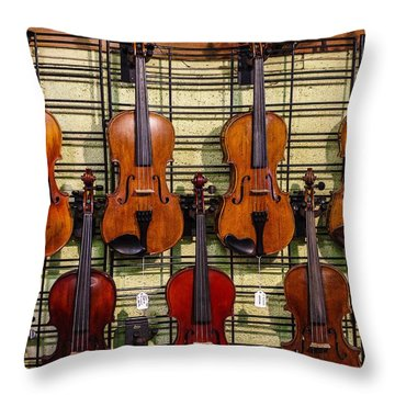 Violins In A Shop Throw Pillow