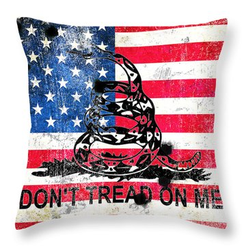 Viper N Bullet Holes On Old Glory Throw Pillow