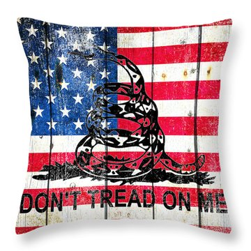 Viper On American Flag On Old Wood Planks Throw Pillow