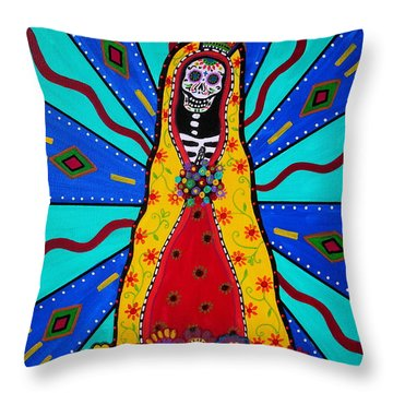Virgen Guadalupe Dia De Los Muertos Throw Pillow