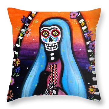 Virgen Guadalupe Muertos Throw Pillow by Pristine Cartera Turkus
