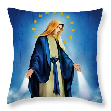 Virgen Milagrosa Throw Pillow