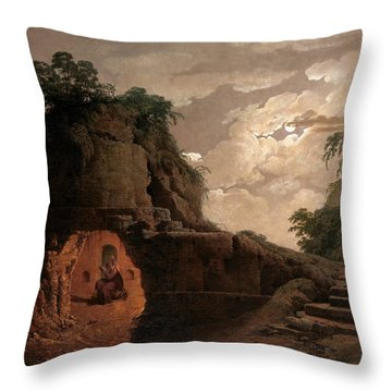 Throw Pillow featuring the painting Virgil's Tomb By Moonlight With Silius Italicus Declaiming by Joseph Wright of Derby