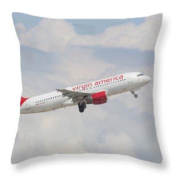 Virgin America Throw Pillow