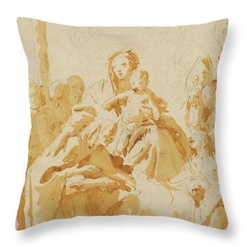 Virgin And Child Adored By Bishops, Monks And Women Throw Pillow