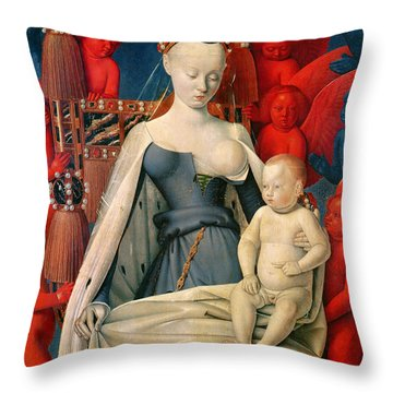 Virgin And Child Surrounded By Angels Throw Pillow by Jean Fouquet