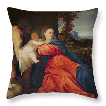 Virgin And Infant With Saint John The Baptist And Donor Throw Pillow
