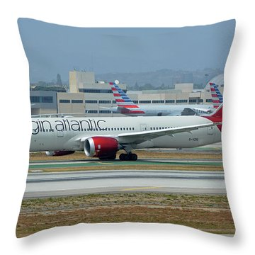 Throw Pillow featuring the photograph Virgin Atlantic Boeing 787-9 G-vzig Los Angeles International Airport May 3 2016 by Brian Lockett
