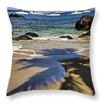 Virgin Gorda Beach Throw Pillow by Dennis Cox WorldViews