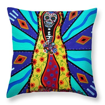 Virgin Guadalupe Day Of The Dead Throw Pillow