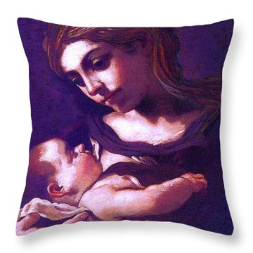 Virgin Mary And Baby Jesus, The Greatest Gift Throw Pillow by Jane Small