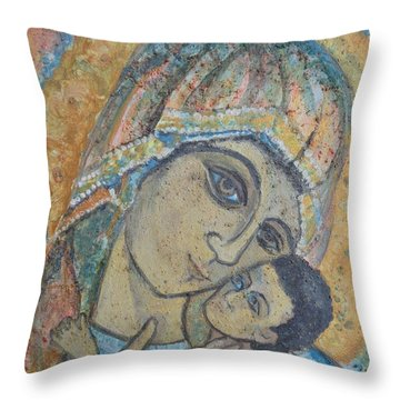 Virgin Mary And Child Of Luke Throw Pillow