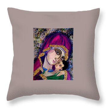 Virgin Mary In Purple Throw Pillow