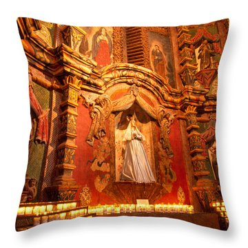 Virgin Mary Statue Candles Mission San Xavier Del Bac Throw Pillow by Thomas R Fletcher