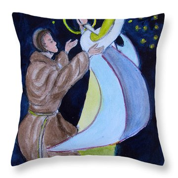 Virgin Mary With Jesus And St Anthony Throw Pillow
