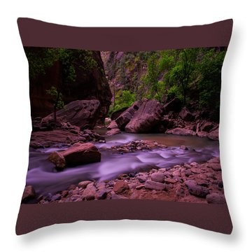 Virgin River The Narrows Zion National Park Throw Pillow
