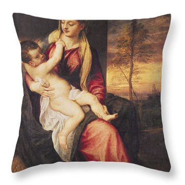 Virgin With Child At Sunset Throw Pillow by Titian