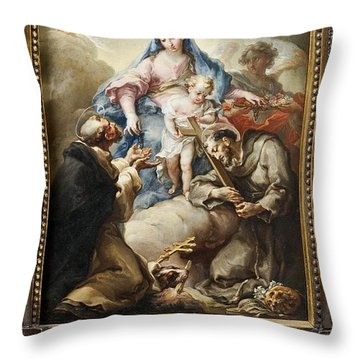 Throw Pillow featuring the painting Virgin With St. Francis And St. Dominic by Celestial Images