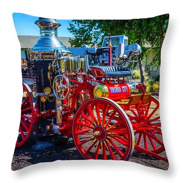 Virgina City Fire Wagon Throw Pillow