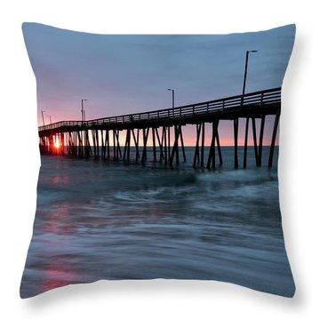 Virginia Beach Fishing Pier Throw Pillow