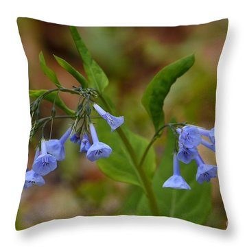 Virginia Bluebells Throw Pillow by Randy Bodkins
