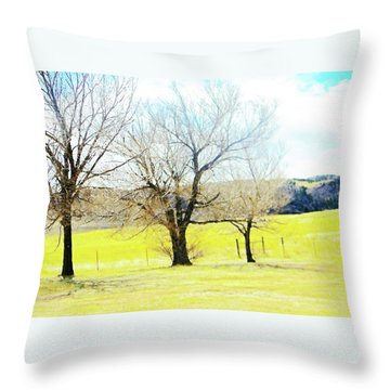 Virginia Dale-three Trees Throw Pillow by Lenore Senior