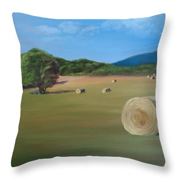Throw Pillow featuring the painting Virginia Hay Bales by Donna Tuten
