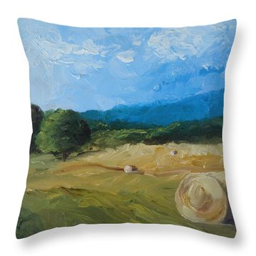 Virginia Hay Bales II Throw Pillow by Donna Tuten