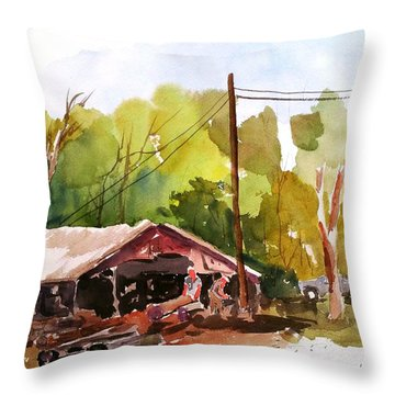Virginia Saw Mill Throw Pillow
