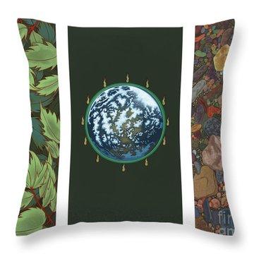Viriditas Triptych Throw Pillow