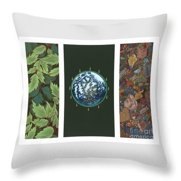 Viriditas Triptych Throw Pillow