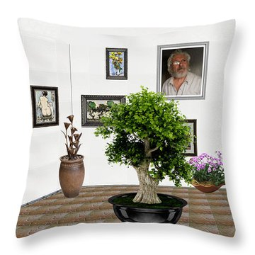 Throw Pillow featuring the mixed media Virtual Exhibition -  Bonsai 13 by Pemaro