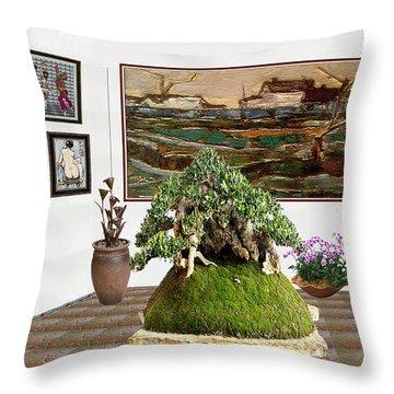 Virtual Exhibition -  Bonsai Palm 17 Throw Pillow by Pemaro