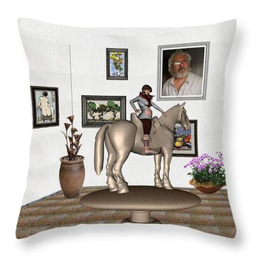 Throw Pillow featuring the mixed media Virtual Exhibition Horsewoman 13 by Pemaro