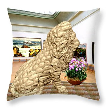 Virtual Exhibition - Statue Of A Lion Throw Pillow