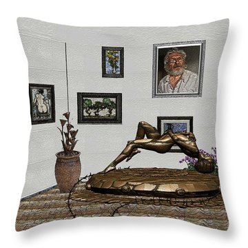 Throw Pillow featuring the mixed media Virtual Exhibition -statue Of Girl by Pemaro