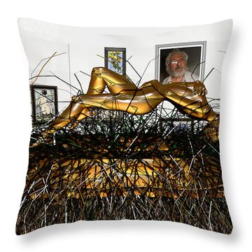 Throw Pillow featuring the mixed media Virtual Exhibition With Birthday Cake by Pemaro