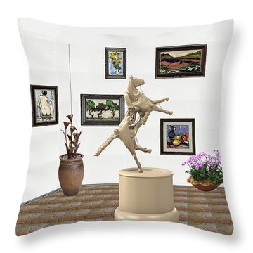 Throw Pillow featuring the mixed media Virtual Exhibition_statue Of A Horse by Pemaro