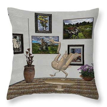 Throw Pillow featuring the mixed media virtual exhibition_Statue of swan 23 by Pemaro