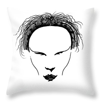 Throw Pillow featuring the drawing Visage by Keith A Link