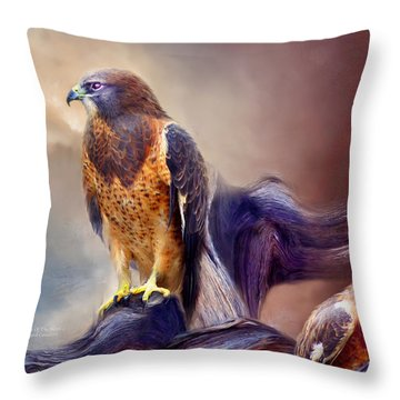 Vision Of The Hawk 2 Throw Pillow by Carol Cavalaris