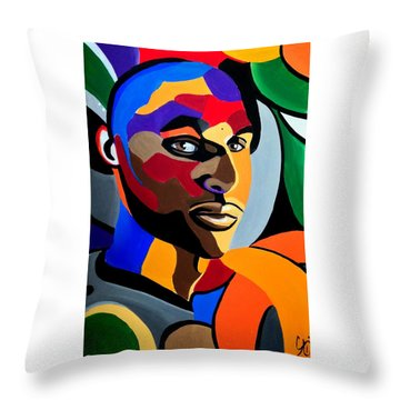 Visionaire, Abstract Male Face Portrait Painting - Illusion Abstract Artwork - Chromatic Throw Pillow