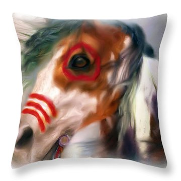 Visionary War Horse Throw Pillow