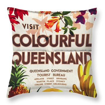 Visit Colorful Queensland - Vintage Poster Folded Throw Pillow