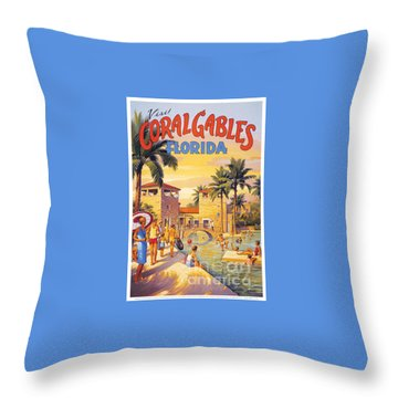Visit Coral Gables-florida Throw Pillow