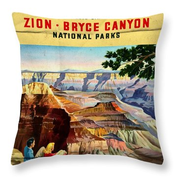Visit Grand Canyon - Folded Throw Pillow