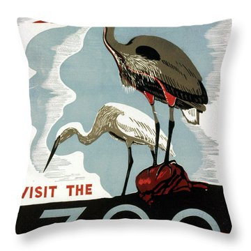 Visit The Zoo Egrets  Throw Pillow by Unknow