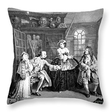 Visit To The Quack Doctor, 1745 Throw Pillow by Science Source
