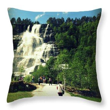 Visit To Tvindefossen Falls Throw Pillow